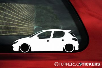 2x LOW Peugeot 206 5-DOOR, HDi / GTi / Rc outline silhouette stickers, Decals
